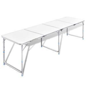 vidaxl tavolo da campeggio pieghevole alluminio regolabile 240x60 cm