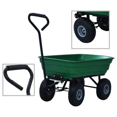 vidaxl carrello manuale ribaltabile da giardino 300 kg 75 l verde