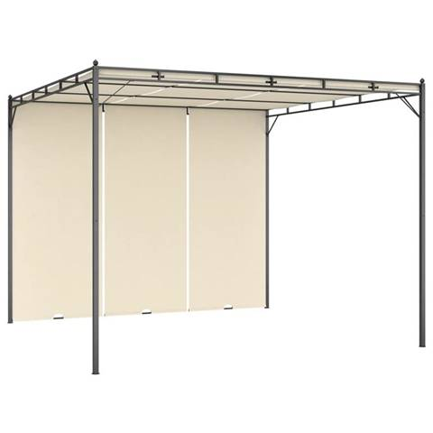 vidaxl gazebo da giardino con tenda laterale 3x3x2,25m crema