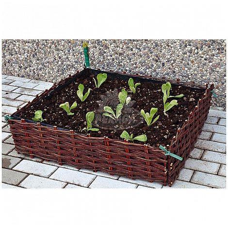 verdemax contenitore per fiori e ortaggi giardino in salice 80x80xh20