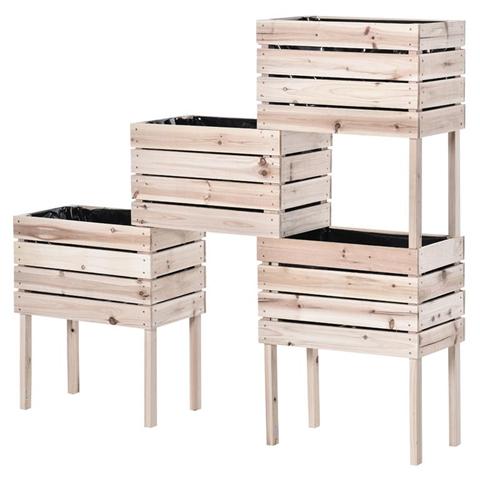 outsunny letto per orto rialzato con 4 vasi portapiante da 50x30x60cm, fioriera da esterno in legno colore naturale
