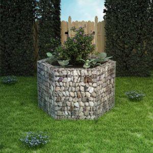 vidaxl gabbione letto rialzato da giardino esagonale 160x140x100 cm
