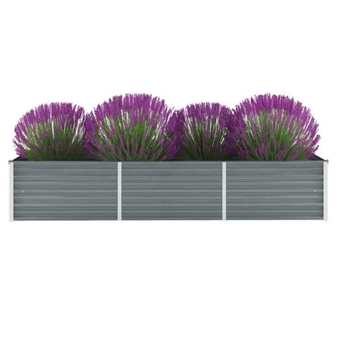 vidaxl letto rialzato giardino in acciaio zincato 240x80x45 cm grigio