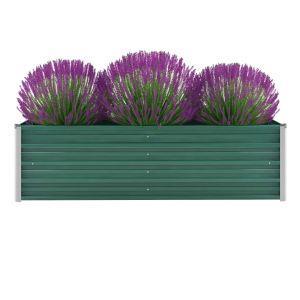 vidaxl letto rialzato giardino in acciaio zincato 160x40x45 cm verde