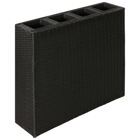 vidaxl letto rialzato da giardino con 4 vasi in polyrattan nero