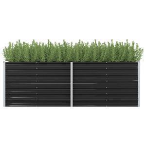 vidaxl fioriera per giardino antracite 240x80x77 cm in acciaio zincato