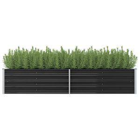 vidaxl letto rialzato giardino antracite 240x80x45 cm acciaio zincato