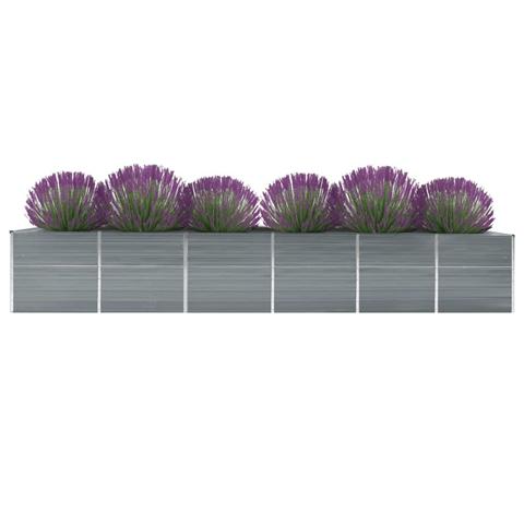 vidaxl letto rialzato giardino in acciaio zincato 480x80x77 cm grigio