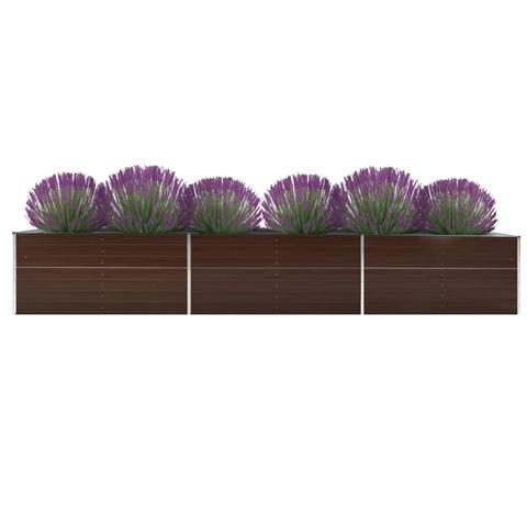 vidaxl letto rialzato giardino in acciaio zincato 480x80x77 cm marrone