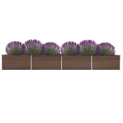 vidaxl letto rialzato giardino in acciaio zincato 600x80x45 cm marrone