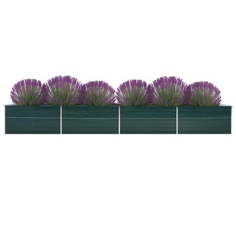 vidaxl letto rialzato giardino in acciaio zincato 600x80x77 cm verde