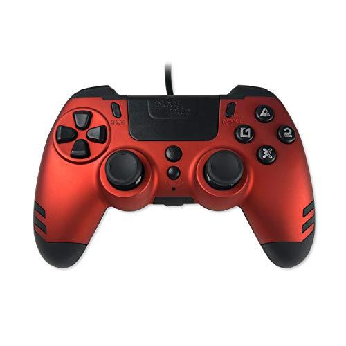 Steelplay Manette Elite Metaltech filaire pour PS4 avec palettes arrire rouge rubis, controleur de jeu gamepad controller joystick pour PlayStation 4 / PS4 Pro / PS4 Slim [Edizione: Francia]