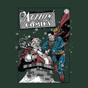 DC Comics Felpa Originals Superman Action Comics Green Christmas L Verde
