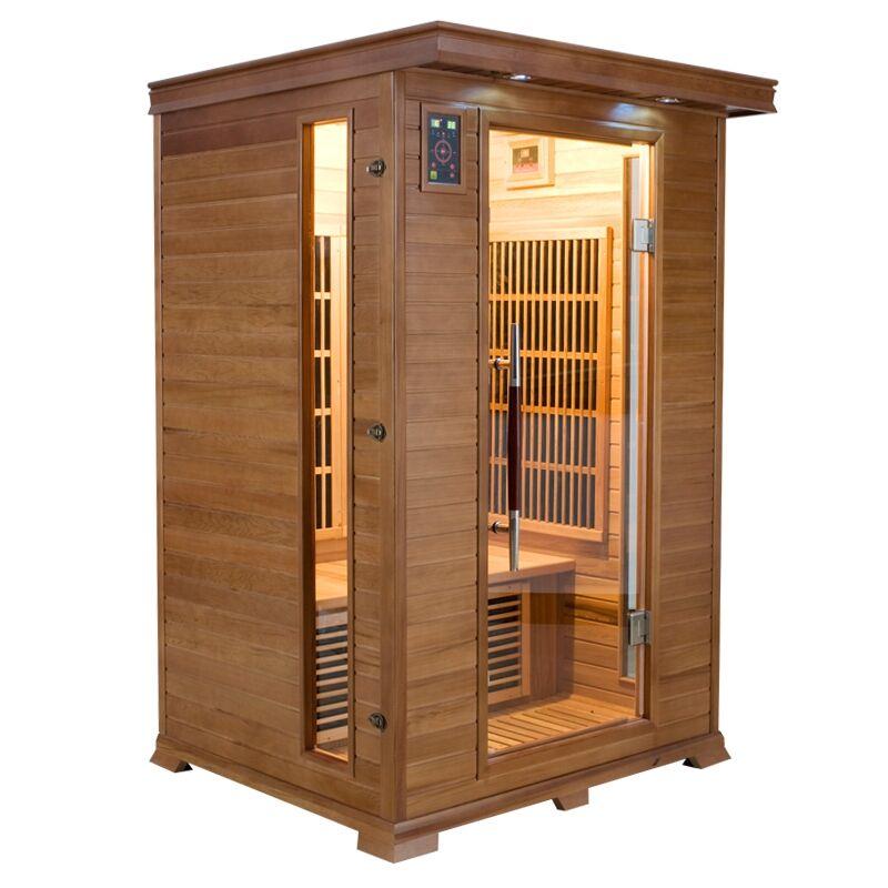 Sauna infrarossi 2 posti Aira 120 x 105 CM in Cedro Rosso