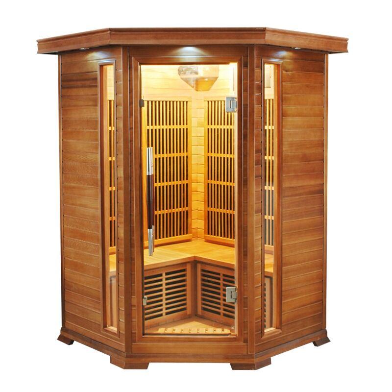 Sauna infrarossi 2/3 posti Aira 120 x 120 CM in Cedro Rosso Canadese