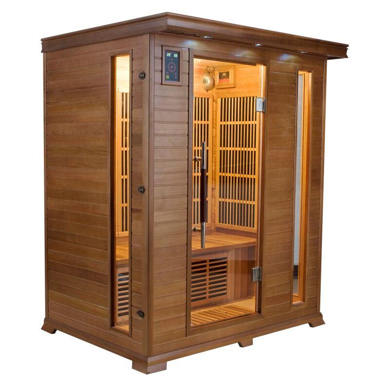 Sauna infrarossi 3 posti Aira 153 x 110 CM in Cedro Rosso Canadese