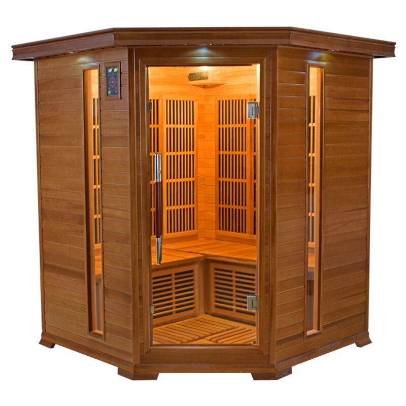 Sauna infrarossi angolare 3/4 posti Aira 150 x 150 CM in Cedro Rosso Canadese