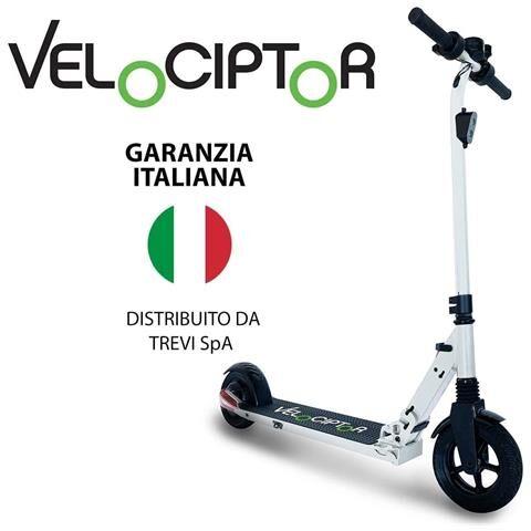 Trevi Monopattino Elettrico Velociptor ES 80W Velocità fino a 25 km / h Ruote da 8'' Luci e Freno Elettrico - Bianco