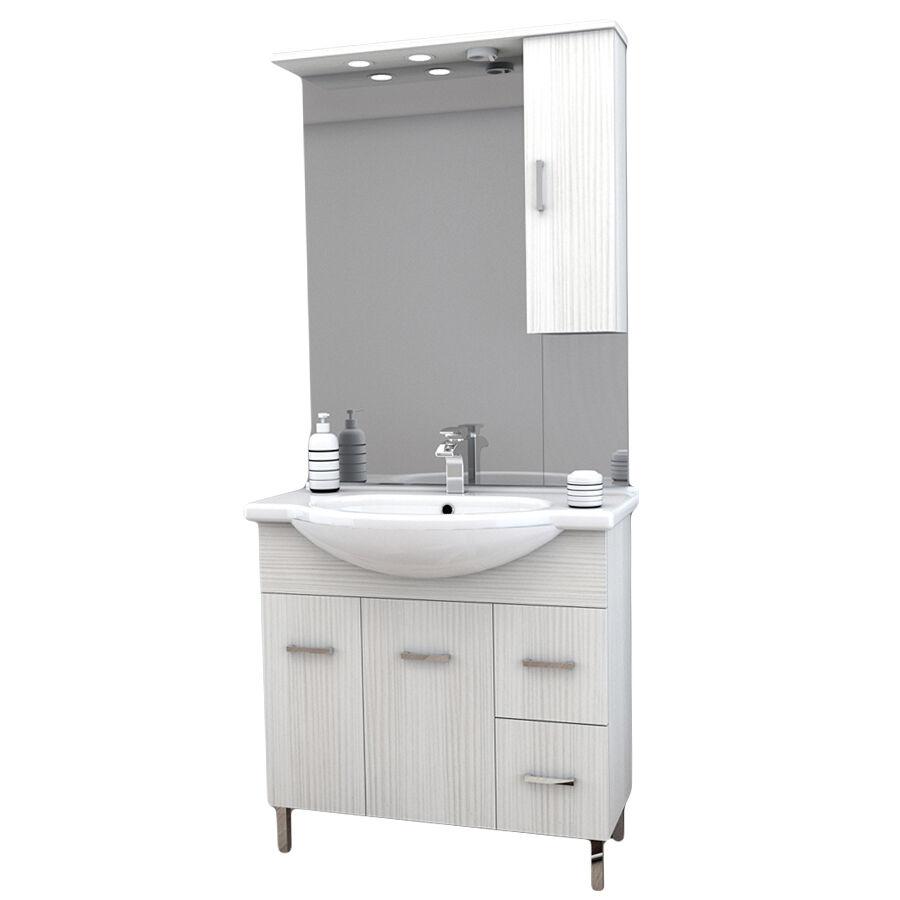 CeramicStore Mobile bagno a terra con due ante, due cassetti, lavabo in ceramica, specchio e pensile contenitore modello Venice in nobilitato rifinitura effetto legno larice bianco