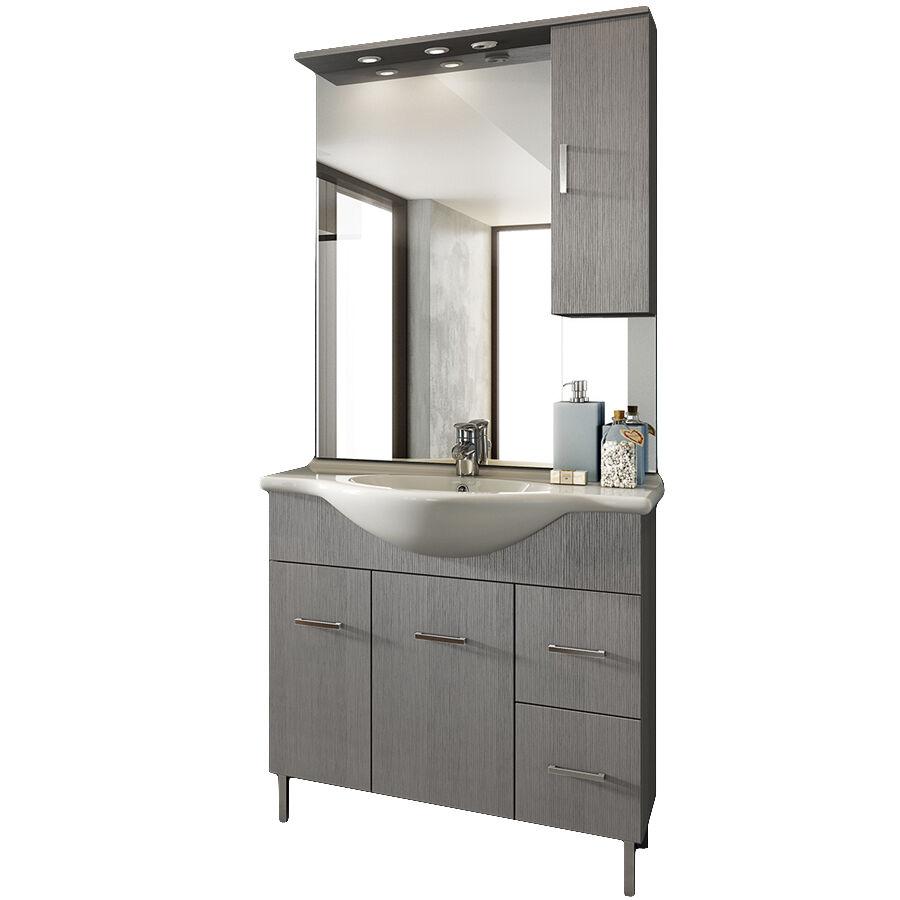 CeramicStore Mobile bagno a terra con due ante, due cassetti, lavabo in ceramica, specchio e pensile contenitore modello Venice in nobilitato rifinitura effetto legno larice grigio