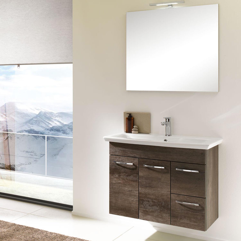Falegnameria-Adriatica Mobile da bagno sospeso 85 cm Nora07 rovere scuro