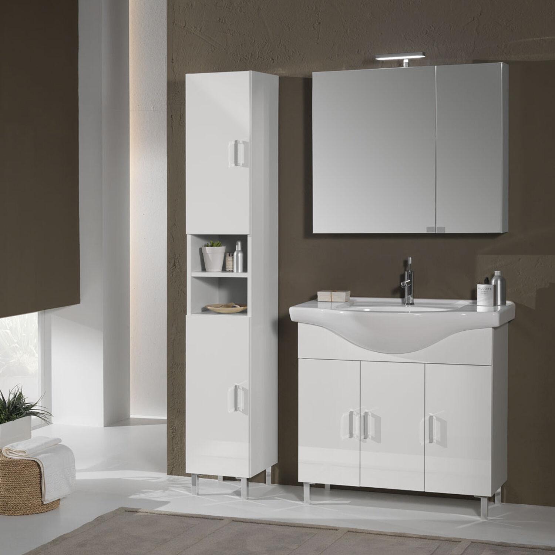 Falegnameria-Adriatica Mobile bagno a terra 115 cm Pisa01 laccato lucido bianco