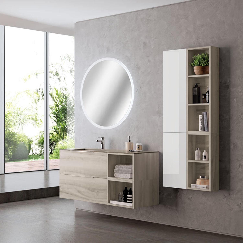 Falegnameria-Adriatica Mobile bagno sospeso Bali03 cm 180x195x46 noce lingera e laccato lucido bianco