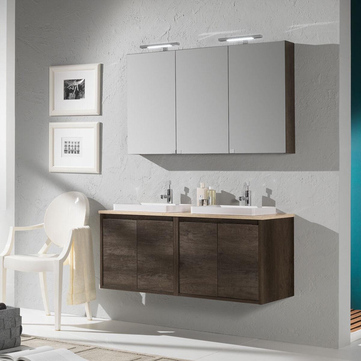 Falegnameria-Adriatica Mobile bagno sospeso Loto25 cm 120x190x46 rovere scuro