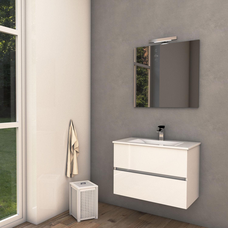 ProgettoIdealStella Mobile bagno sospeso HARMONY 75 cm 75x46 bianco lucido con lavabo in ceramica