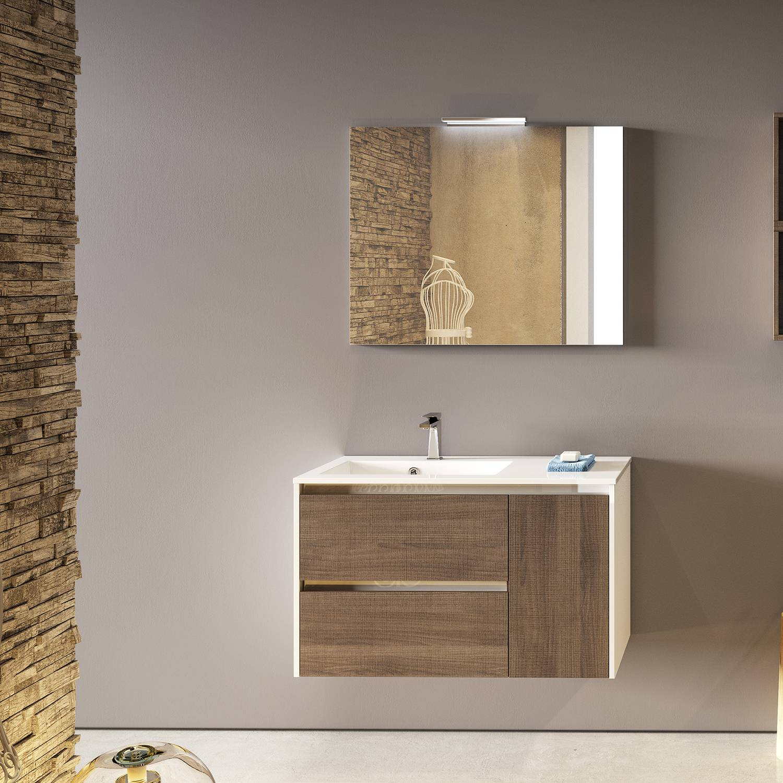 ProgettoIdealStella Mobile bagno sospeso FLIP 90 cm 90x50 frontale noce tranchè e lati bianco lucido