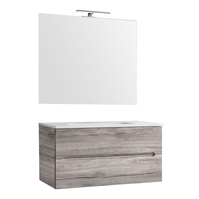 CeramicStore Mobile bagno sospeso Talia cm 90 Rovere Grigio con lavabo, specchio e lampada
