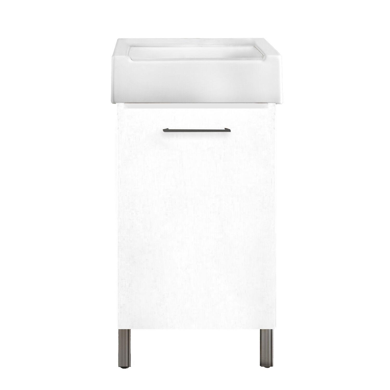 CeramicStore Mobile lavatoio 1 anta in materiale melaminico con lavabo in ceramica e piedini abs cromati. Variante Bianco Classico Misure cm 51x51,5