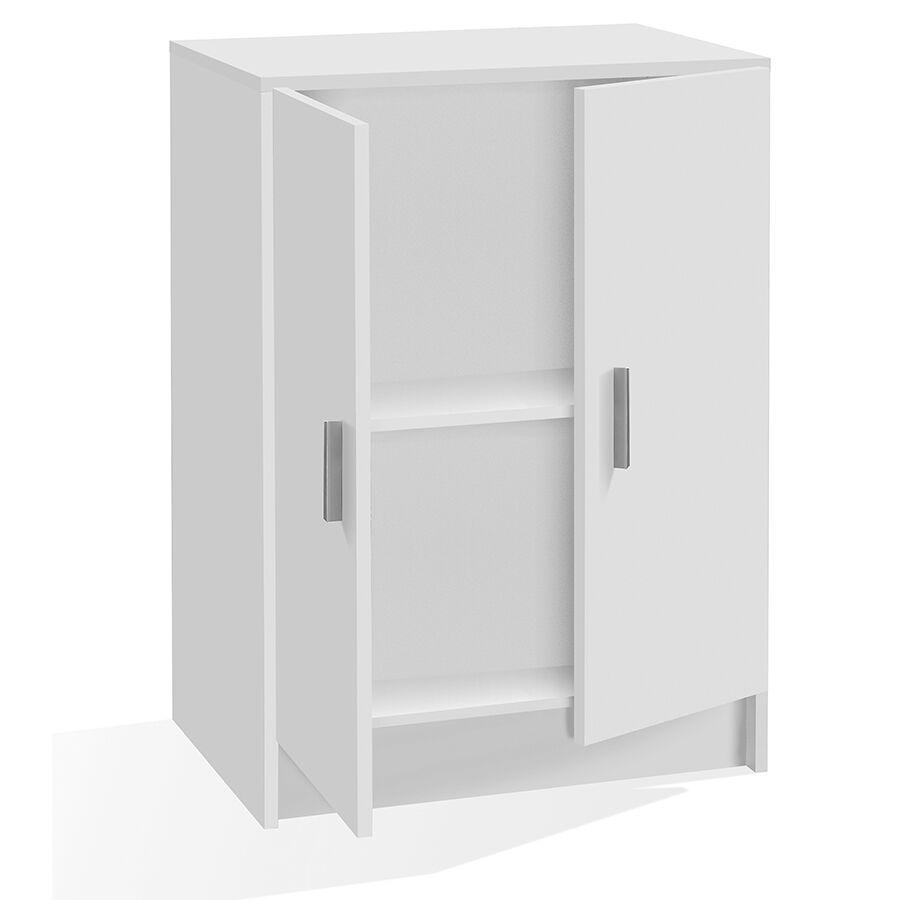 CeramicStore Armadio basso con 2 ante 1 ripiano regolabile in altezza. Materiale melaminico, colore bianco.