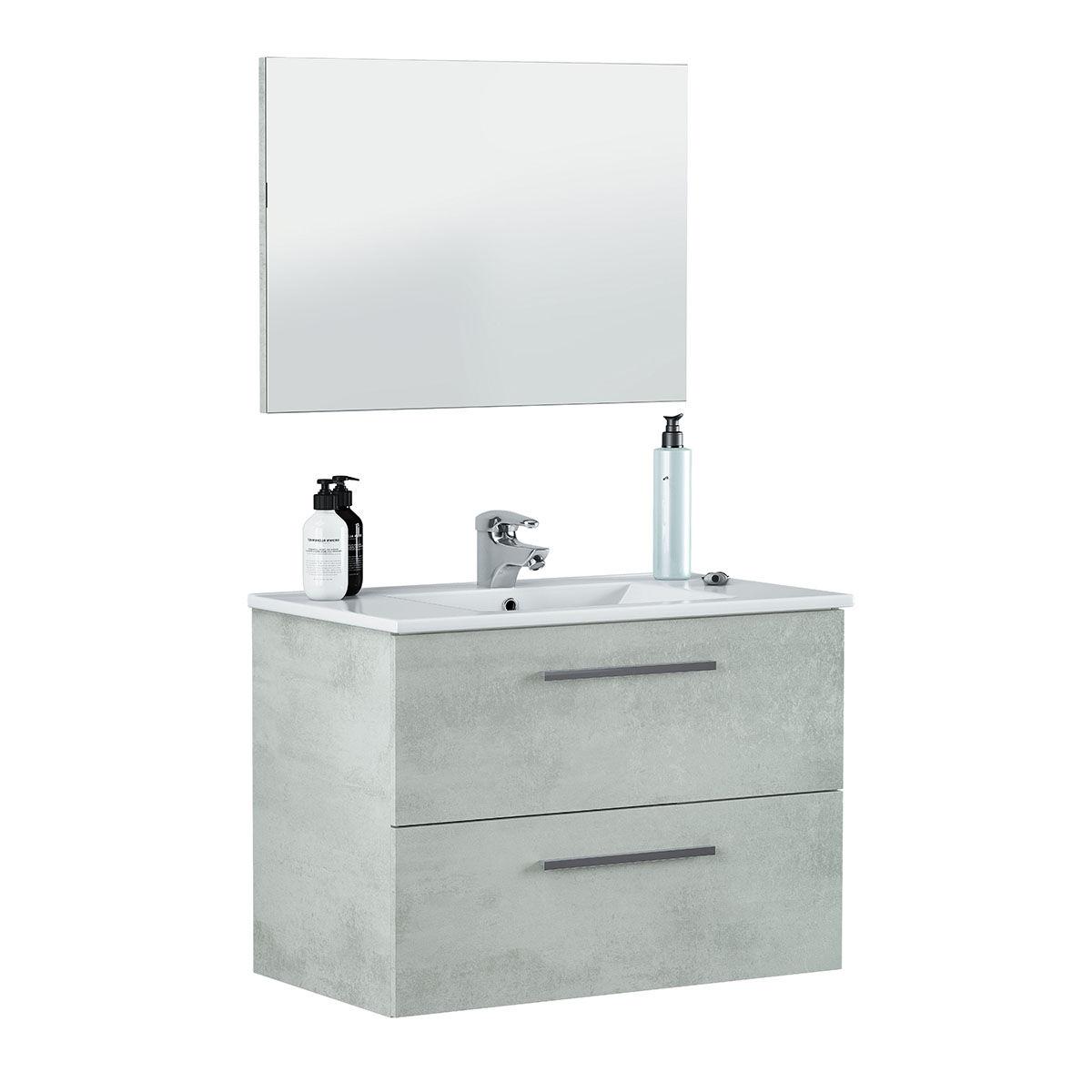 """CeramicStore Mobile bagno sospeso """"Aruba"""" in materiale melaminico completo di lavabo in ceramica bianca e specchio. Colore mobile cemento"""