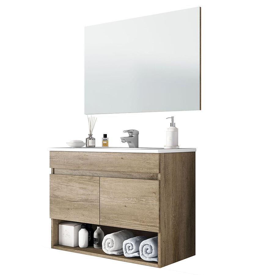 """CeramicStore Mobile bagno sospeso """"Cotton"""" in materiale melaminico completo di base sospesa con due ante, lavabo in ceramica e specchio. Colore bianco e legno nature"""