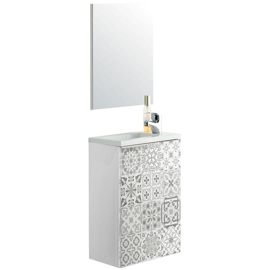"""CeramicStore Mobile bagno sospeso """"Compact"""" in materiale melaminico completo di base sospesa 1 anta, 1 ripiano, lavabo in resina e specchio: Colore bianco e riproduzione cementine."""