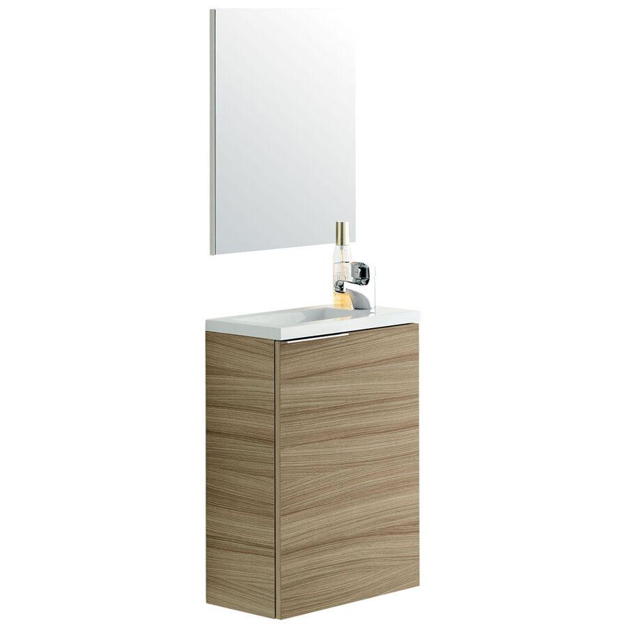 """CeramicStore Mobile bagno sospeso """"Compact"""" in materiale melaminico completo di base sospesa 1 anta, 1 ripiano, lavabo in resina e specchio: Colore bianco e legno nature."""