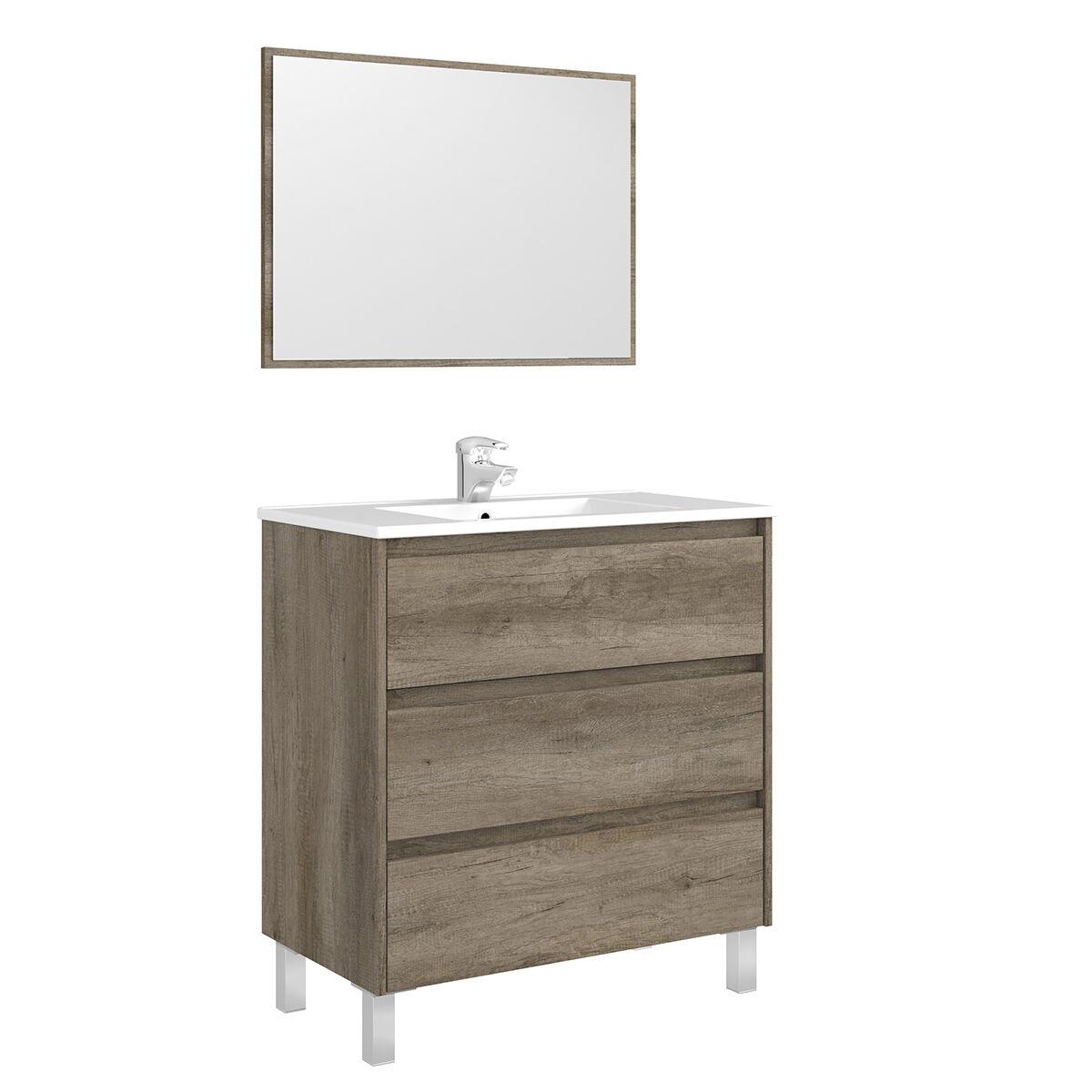 """CeramicStore Mobile bagno """"Dakota"""" a 3 cassetti in materiale melaminico completo di lavabo in ceramica bianca e specchio con cornice dello stesso colore del mobile. Colore legno Nordik"""