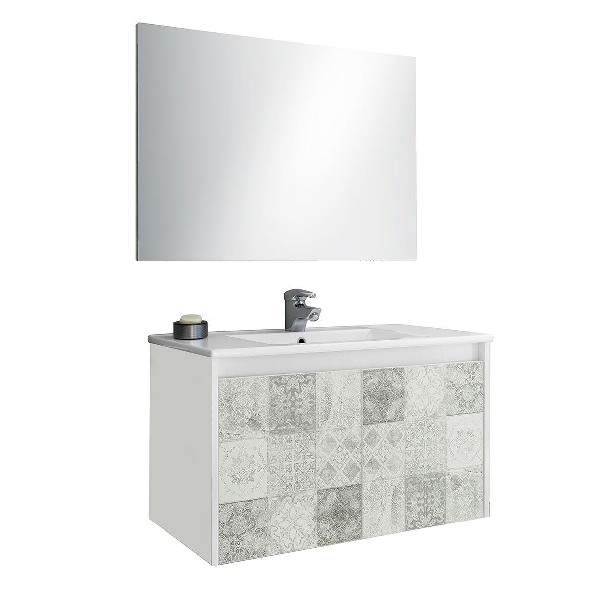 CeramicStore Mobile bagno sospeso in materiale melaminico completo di base sospesa con due ante, lavabo in ceramica e specchio. Colore bianco lucido e riproduzione cementine.
