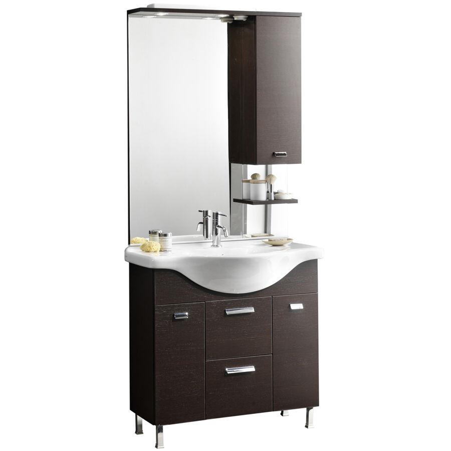 """CeramicStore Mobile bagno """"Karine"""" in truciolare idrorepellente con base 2 ante e 2 cassetti, lavabo in ceramica e specchio con illuminazione alogena, presa e interruttore. Colore rovere moro"""