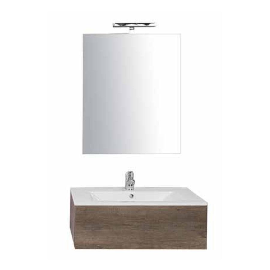 CeramicStore Mobile bagno sospeso in nobilitato con 1 cassetto con vano sifone e Top in ceramica. Specchio filo lucido + Lampada a led. Colore Olmo naturale