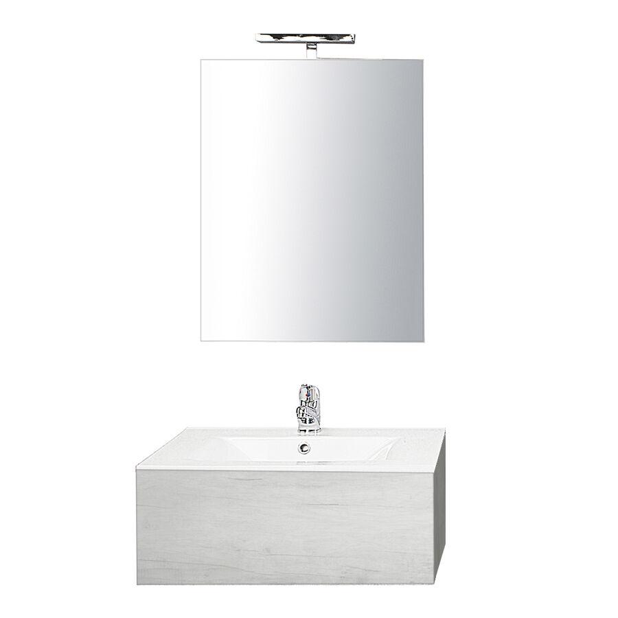 CeramicStore Mobile bagno sospeso in nobilitato con 1 cassetto con vano sifone e Top in ceramica. Specchio filo lucido + Lampada a led. Colore Olmo bianco