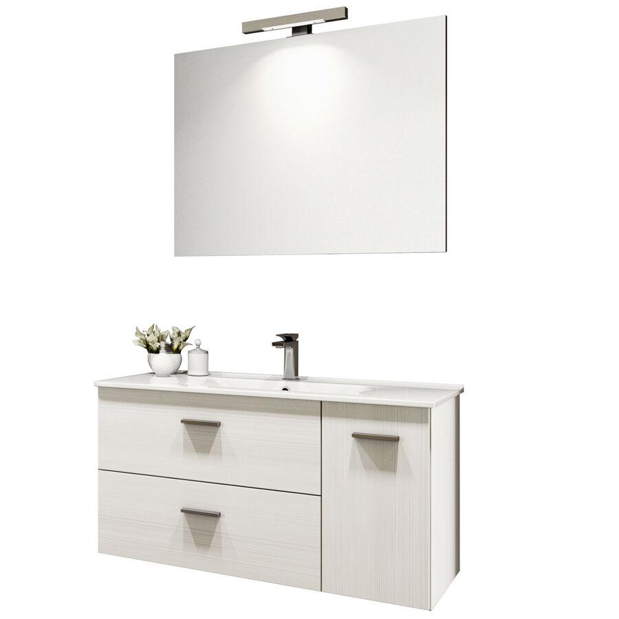 CeramicStore Mobile bagno sospeso modello Betty con lavabo in ceramica e specchio. Provvisto di due cassetti e un vano con anta. Colore Larice bianco