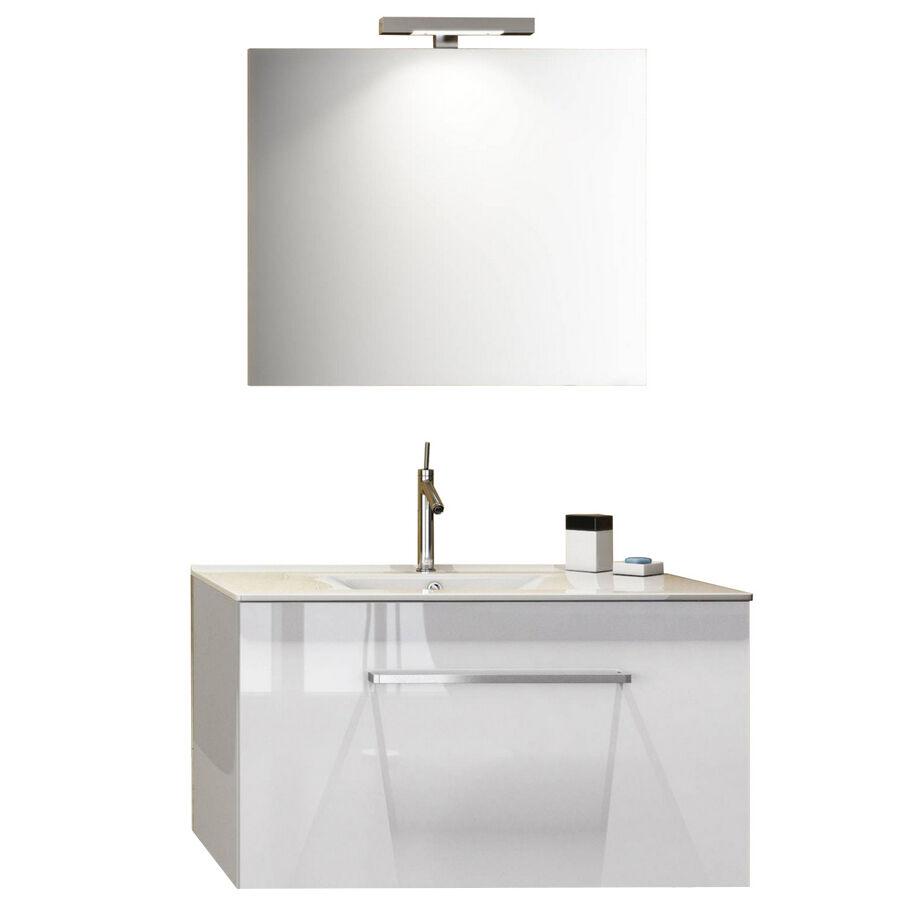 """CeramicStore Mobile bagno sospeso modello """"Kio"""" con lavabo in ceramica e specchio. Provvisto di cassetto. Colore Bianco Lucido"""