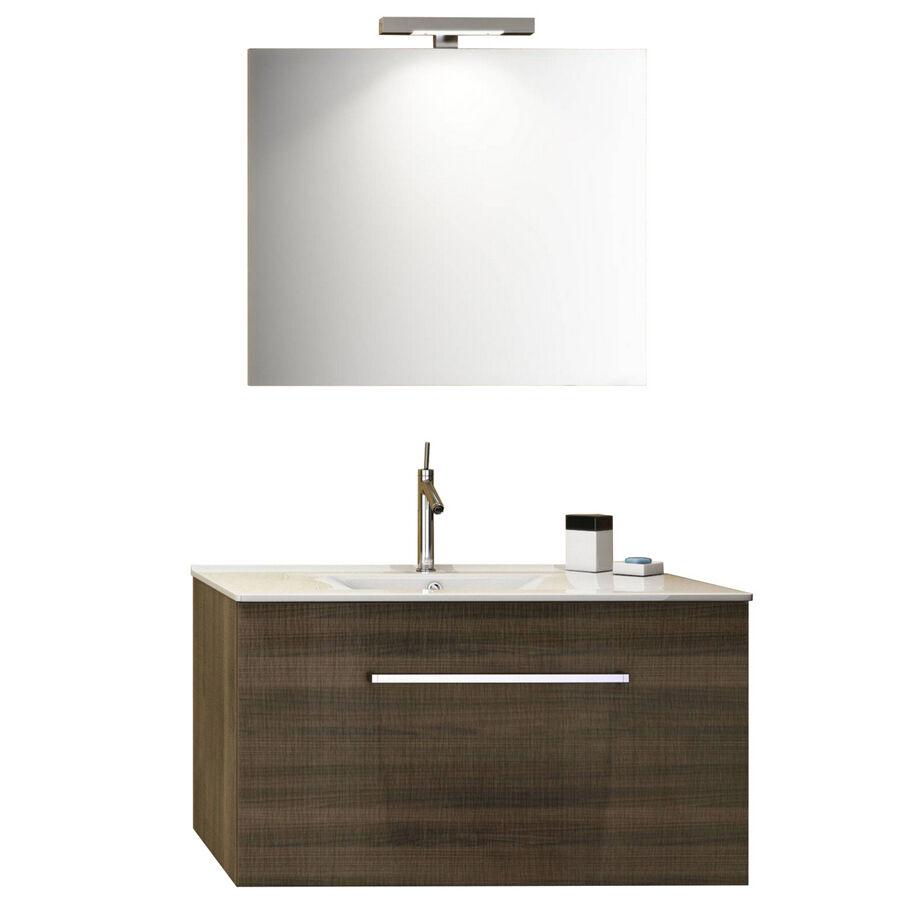 """CeramicStore Mobile bagno sospeso modello """"Kio"""" con lavabo in ceramica e specchio. Provvisto di cassetto. Colore Noce Tranchè"""