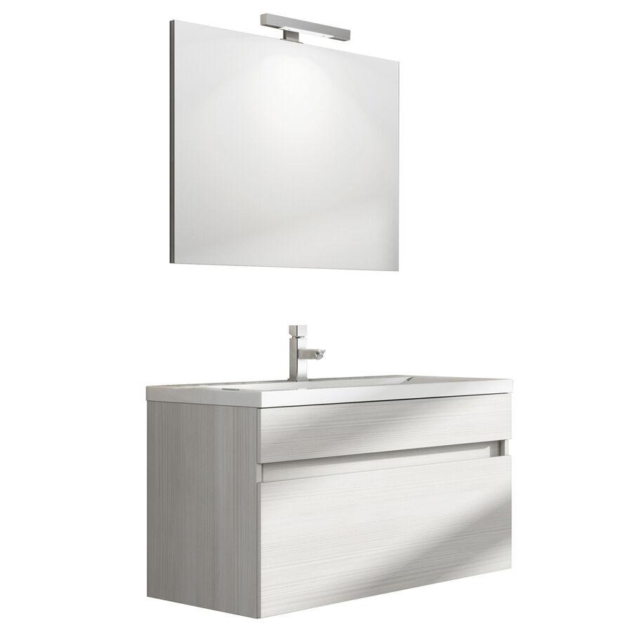 """CeramicStore Mobile bagno sospeso modello """"Perseo"""" con lavabo in mineralmarmo e specchio. Provvisto di cassetto. Colore Larice bianco"""