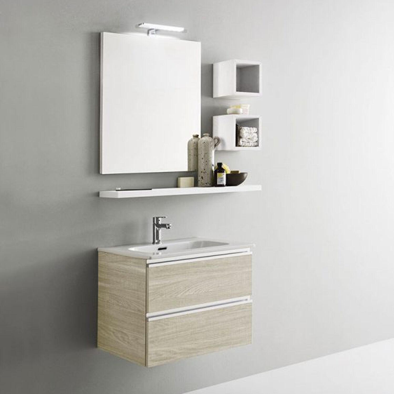 ARBI ARREDOBAGNO Mobile da bagno sospeso doppio cassetto da cm 60x45 con specchio e faretto led