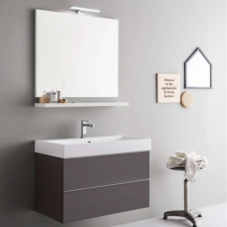 ARBI ARREDOBAGNO Mobile da bagno sospeso moderno da cm 80x45 con specchio e faretto led