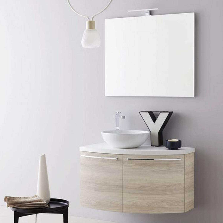 ARBI ARREDOBAGNO Mobile da bagno sospeso curvo asimmetrico destro da cm 90x50/22 con specchio a filo faretto led