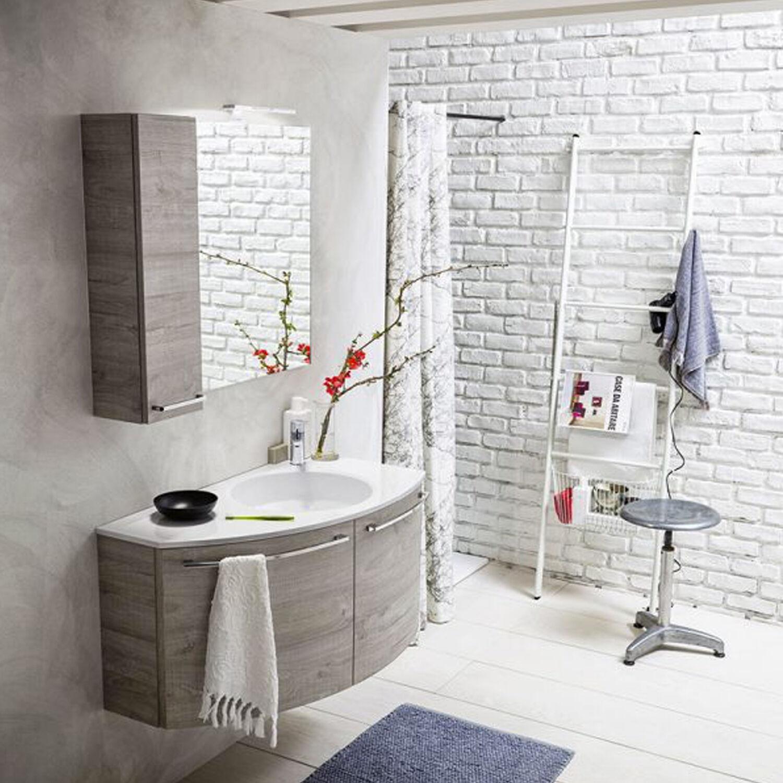 ARBI ARREDOBAGNO Mobile da bagno sospeso curvo asimmetrico sinistro da cm 90x50/22 con specchio a filo pensile e faretto